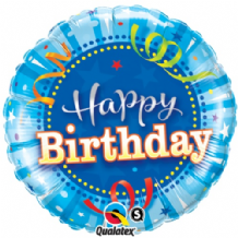 "Birthday Bright Blue Foil Balloon (18"") 1pc"